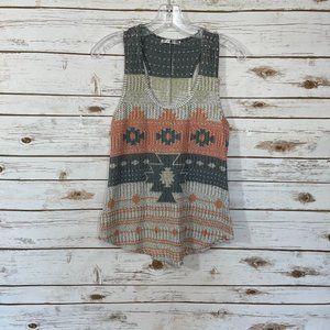 Blu Planet Aztec Knit Top Size M